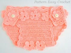 Crochet pattern baby diaper cover floral   instant by easycrochet $5.50