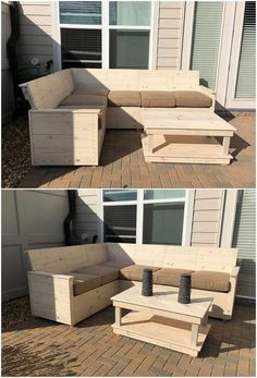 If you have been thinking about designing an inspiring furniture in your house, then the best material to opt for its designing is the wood pallet manufacturing. Right through this image we have the involvement of the corner couch where the settlement of the table combination is suitable placed.