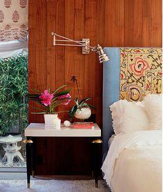katie Leede bedroom design...vintage suzani headboard
