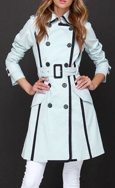 Love Trench Coats! Stylish Black and White Turn Down Collar Long Sleeve Button Design Women's Trench Coat. Yes please!