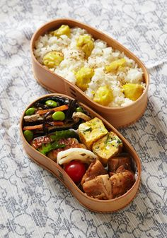 Japanese Chestnut Rice Bento 栗おこわ弁当 Japanese Bento Lunch Box, Bento Box Lunch, Japanese Food, Bento Recipes, Lunch Box Recipes, Boite A Lunch, Asian Cooking, Cooking Tips, No Cook Meals