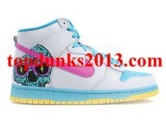 brand new 41184 8f8a4 Genuine Terrible Skull White Yellow Pink Nike Dunk High Top Nike High Tops,  Nike Kicks