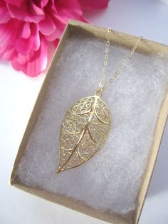Feather Necklace Leaf Necklace Simple Gold Necklace by MeadowlarkBlossom on Etsy!