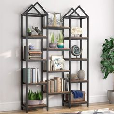 Nordic House Shape Bookshelf Shelving Unit Rustic Shelves Dual Rooftop – thenordictradingco.com