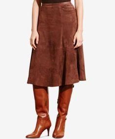 Lauren Ralph Lauren Suede A-Line Skirt