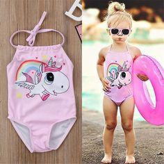 d3c50432ae753 Kids Baby Girl Unicorn One Piece Bikini Swimwear Swimsuit Bathing Suit  Beachwear