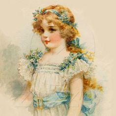 vintage art children - girl in whtie and blue
