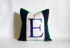 Navy blue and lime green color block Monogram by EclecticPillows
