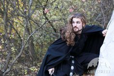 Black cotton medieval hooded cloak
