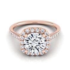 14k Rose Gold 1 1/3ct TDW Round Diamond Halo Engagement Ring (H-I, VS1-VS2) (Size - 10.5), Women's