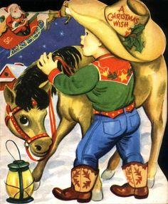 Li'l Buckaroo Christmas card... <*> (rustic, western, cowboy, country, Xmas)