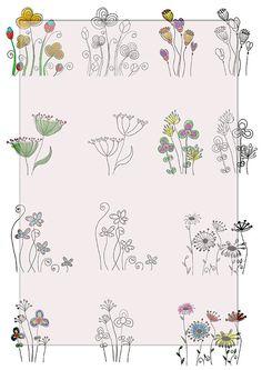 Pretty hand drawn Flowers....DiGiTaL CoLLaGe ShEeT by lilymelba1, $3.30