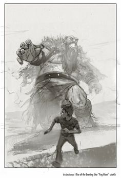 "I pinned this image into my ""Proportion"" board becuase you can see the different proportions between the young boy running away and the giant. The giant is huge and has very large proportions to express fear, power and strength from the giant. The boy is also drawn a lot smaller to shwo that he is the weak and small one in this image. By using proportion you are able to tell a story and power/dominance of the people in the image."