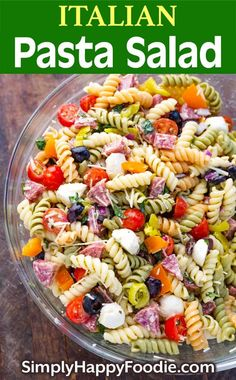 Italian Pasta Salad Is Loaded With Yummy Ingredients. Everything From Salami, Cherry Tomatoes, And Olives, To Fresh Mozzarella And More This Pasta Salad Recipe Comes Together Quickly. This Is One Delicious Pasta Salad That Will Impress Your Guests Easy Pasta Salad Recipe, Best Pasta Salad, Pasta Salad Italian, Healthy Salad Recipes, Pasta Salad Ingredients, Simple Pasta Salad, Pasta Salad Recipes Cold, Tri Color Pasta Salad, Rotini Pasta Recipes