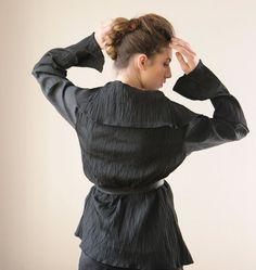 Black Women Cardigan warp Jacket with a leather belt by CIPORKIN, $105.00