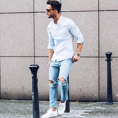 From classic white crew neck tee to cool denim shirt, keep reading the find out which closet basics are wardrobe must-haves. #MensFashion
