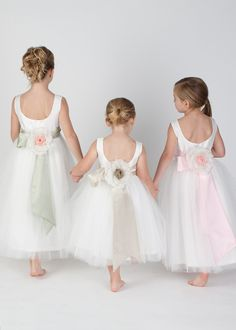Katina Katoo designer Silk taffeta and tulle flower girl dress with ballerina back, silk satin sash and handmade silk flower. Available in various colors. Girls sizes - Special sizing options available. Little Girl Dresses, Girls Dresses, Flower Girl Dresses, Flower Girls, Flower Children, Pageant Dresses, Bridesmaid Flowers, Bridesmaid Dresses, Bridesmaids