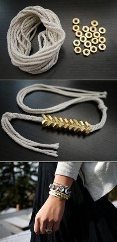 Braided hex nut bracelet
