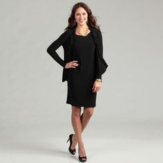 @Overstock - This two-piece professional black jacket dress by Jessica Howard is made of spandex, for a comfortable yet stylish look. The black, sleeveless, straight-waisted dress and complementing jacket can be mixed and matched with other wardrobe items.http://www.overstock.com/Clothing-Shoes/Jessica-Howard-Womens-Black-Ruffle-Jacket-Dress/6814337/product.html?CID=214117 CAD              126.52