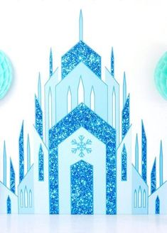 Shop Ice Princess Castle Large Printable Poster | Buy online for a girl birthday, baby shower, family events, desserts table or photo booth backdrop!