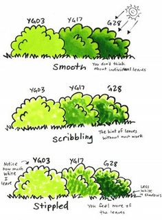 Coloring bushes with Copic markers.
