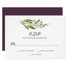 #Greenery with Dark Plum Purple Berries RSVP Card - #rustic #wedding #marriage #bridal #weddingideas