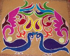 Indian Rangoli. This is one of the beautiful designs(rangoli) that the indians make during the festival of Diwali.