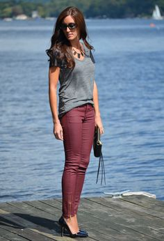Oxblood skinnies - loving the color combo!!