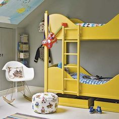 Colourful attic bedroom with yellow bunkbeds