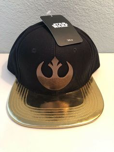 Star Wars Black Hat with Gold Lid and Gold Rebel Logo Snapback Disney with tags #fashion #clothing #shoes #accessories #me