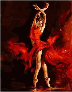 Fire Ballerina Ballet Dancer -Paint by Numbers DIY Canvas Painting Beginner Kit For Adults & Kids. Easy: You still will create a beautiful and exquisite picture no matter you are good or poor at drawing, it doesn't need any basic knack of painting. Simple Oil Painting, Easy Canvas Painting, Diy Canvas, Diy Painting, Canvas Art, Artist Canvas, Painting Classes, China Painting, Painting Lessons