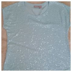 Chico's Sequin Top - NWOT - NEW LISTING This is a great top!! It's a real light Torquise / Aqua color with tons of sequins. It has capped length sleeves and It is brand new. Perfect for spring and summer!! Be advised, Chicos has their own sizing, a size 0 is a size 4 - 6 in the real world Chico's Tops Blouses