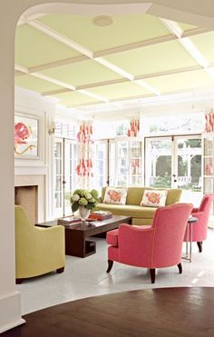 """Pink & Green Living Room~ ceiling and mouldings and white~best for my house~How difficult is it to have """"popcorn"""" texture ceiling removed throughout a house? Is it a DIY-able job at all? Best resourse?"""
