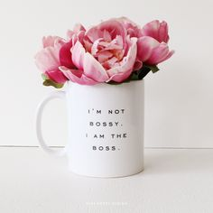 Well, obviously I need this. Bossy Ceramic Mug PRE ORDER by MissPoppyDesign on Etsy, $18.95
