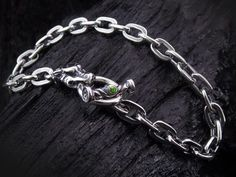 DOUBLE CROSS / TRAVIS WALKER Small Gargoyle Charm Oval LIinkBraceret w/Peridot