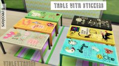 Table with stickers - 6 recolors for The Sims 4 I... | Inside Mandarina's Sim World
