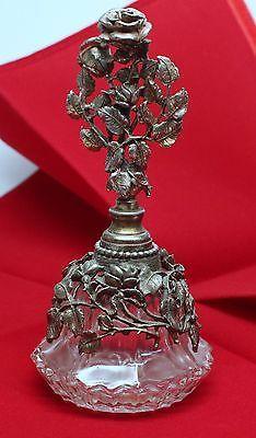 Vintage Glass Crystal Perfume Bottle with Metal overlay and Top xgpb139