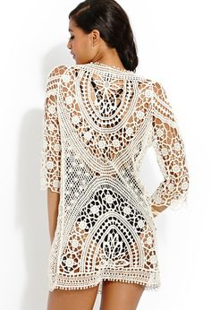 Летнее платье/туника крючком.  Beige Femme Crochet Dress    #Forever_21   #crochet_summer_dress