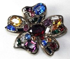 Decadent-Sterling-Coro-Craft-Figural-Flower-Brooch-w-Multi-Colored-Rhinestones
