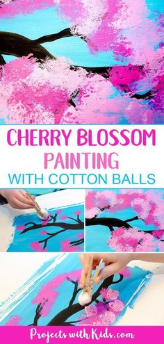 Cherry blossom painting with cotton balls is a fun and easy art project for kids. Kids will love exploring and painting the gorgeous cherry blossom colors with cotton balls in this process art activity. A wonderful painting project for kids of all ages! #kidsart #cherryblossomart #projectswithkids #processart #flowerart #paintingideas