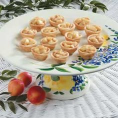 Apple Pie Tartlets:  Good-for-you things come in small packages when you make a batch of the tiny apple pie treats.  Sweet and cinnamony, these mouthwatering morsels are a delightful addition to a dessert buffet or snack tray. For convenience, you can prebake the shells a day or two ahead of serving:  10 servings; 150 calories, 6 g fat, 6 mg cholesterol, 22 g carbohydrate, 1 g fiber, 1 g protein. Diabetic Exchanges: 1-1/2 starch, 1 fat per (2 tartlet) serving