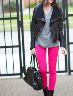 Pink Jeans | Grey Tee | Black Moto Jacket | Black Boots