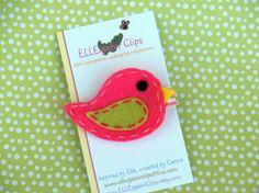 Pajarito fieltro rosa brillante pelo Clip - pinzas de pelo de las niñas / Clips de pelo fieltro / pinzas de pelo del pájaro