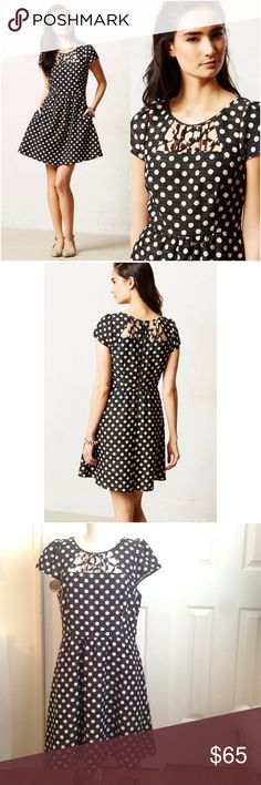 Anthropologie Nikola Dress Anthropologie Nikola Dress. Maeve brand. Fully lined. It has pockets! Black and cream polka dot textured fabric. Cage work on front and back with exposed back zipper. In excellent used condition. Anthropologie Dresses