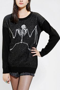 Sparkle & Fade Bat Skeleton Sweater-- oh my god i want this so bad.