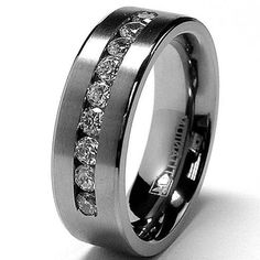 black wedding band and black diamonds male - Google Search