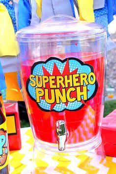 Superhero Party - Superhero PUNCH SIGNS - Superhero Birthday - Comic Party - Superhero - Visit to grab amazing Super Hero Dry-Fit Shirts, now on sale! Superman Birthday Party, Avengers Birthday, 6th Birthday Parties, Incredibles Birthday Party, Third Birthday, Spider Man Birthday, Spiderman Birthday Ideas, Spiderman Theme Party, Happy Birthday