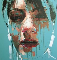 """Cut Here"" - Jimmy Law, acrylic on canvas, 2014 {figurative #expressionist art beautiful female head grunge woman face portrait painting drips} jimmylaw.co.za"