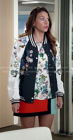 Liza's floral bomber jacket, floral top and colorblock skirt on Younger.  Outfit Details: http://wornontv.net/48467/ #Younger