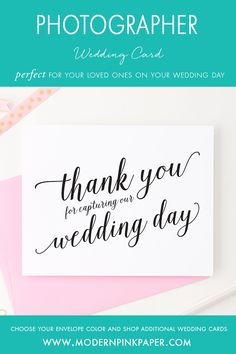 Wedding thank you cards, Thank you for capturing our wedding, Vendor thank you cards